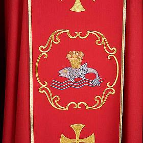 Chasuble sacerdotale 100% laine, bateau, poisson et calice s5