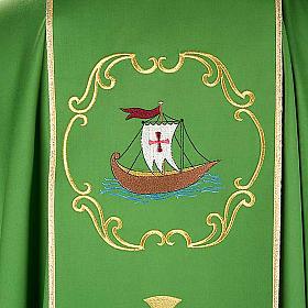 Chasuble sacerdotale 100% laine, bateau, poisson et calice s6