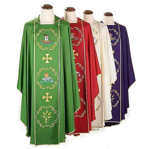 Chasuble sacerdotale 100% laine, bateau, poisson et calice 1
