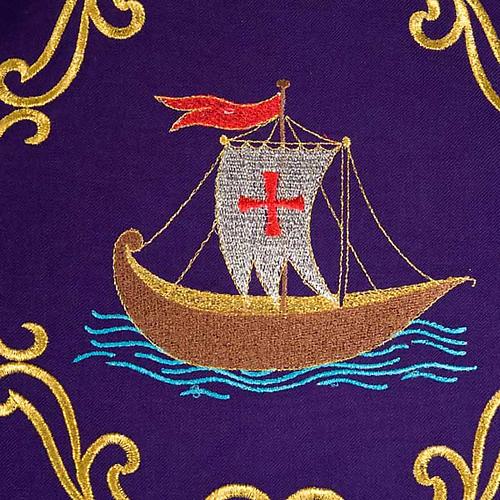 Chasuble sacerdotale 100% laine, bateau, poisson et calice 3