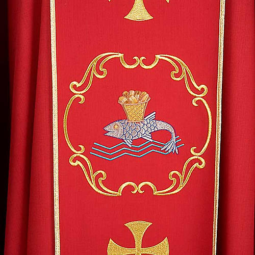Chasuble sacerdotale 100% laine, bateau, poisson et calice 5