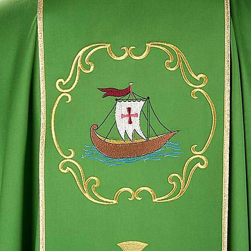 Chasuble sacerdotale 100% laine, bateau, poisson et calice 6