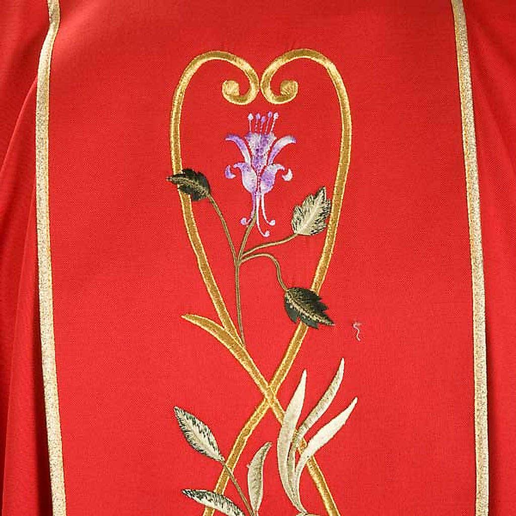 Casula liturgica rose rami 100% lana, con stola 4