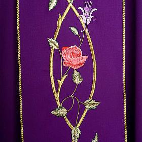 Casula liturgica rose rami 100% lana, con stola s4