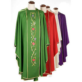 Liturgical chasuble in 100% wool, roses and branches s1