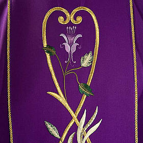 Liturgical chasuble in 100% wool, roses and branches s3