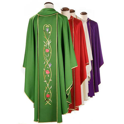 Liturgical chasuble in 100% wool, roses and branches 2
