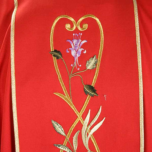 Liturgical chasuble in 100% wool, roses and branches 5