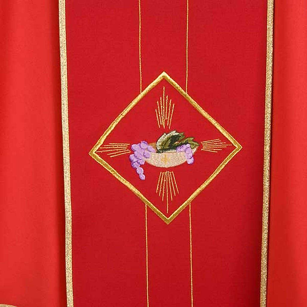 Casula liturgica eucarestia spighe uva 100% lana 4