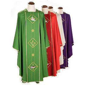 Casula liturgica eucarestia spighe uva 100% lana s1