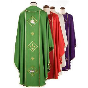 Casula liturgica eucarestia spighe uva 100% lana s2