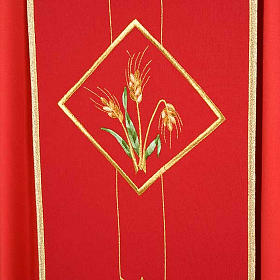 Casula liturgica eucarestia spighe uva 100% lana s5