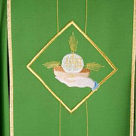 Casula liturgica eucarestia spighe uva 100% lana s6