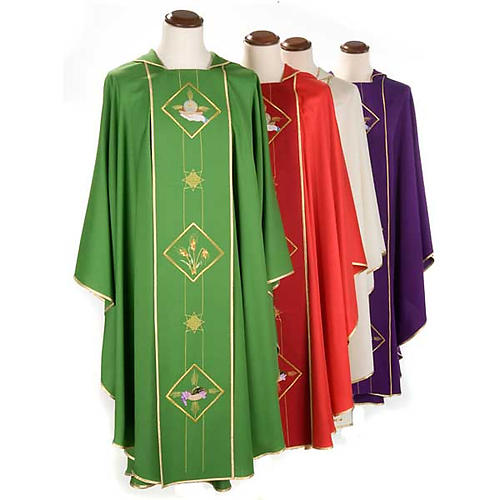 Casula liturgica eucarestia spighe uva 100% lana 1