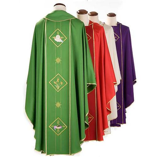 Casula liturgica eucarestia spighe uva 100% lana 2
