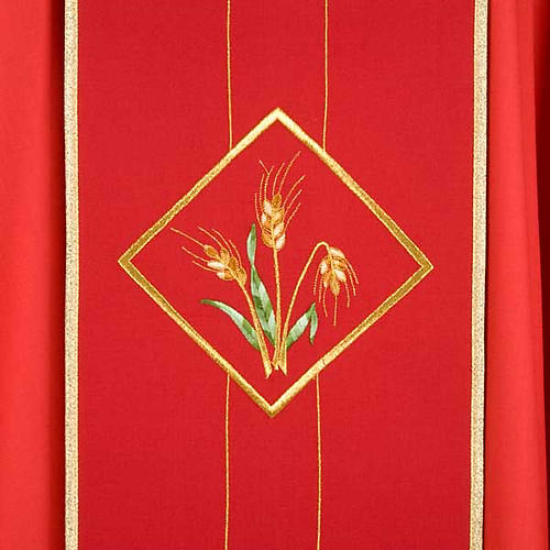 Casula liturgica eucarestia spighe uva 100% lana 3