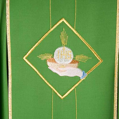 Casula liturgica eucarestia spighe uva 100% lana 6