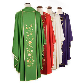 Chasuble and stole in 100% wool, IHS roses s2
