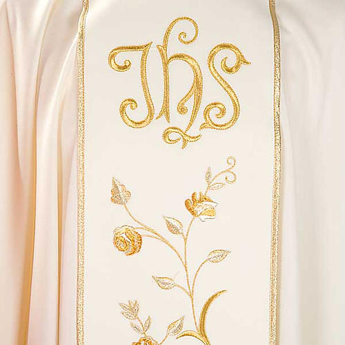 Chasuble and stole in 100% wool, IHS roses 3