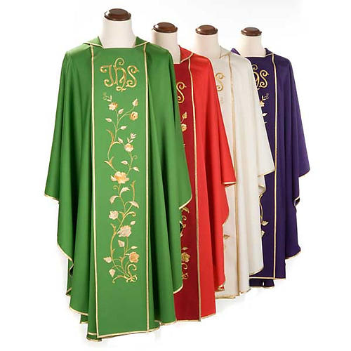 Chasuble sacerdotale 100% laine, IHS roses 1
