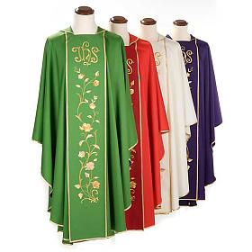 Chasuble and stole in 100% wool, IHS roses s1