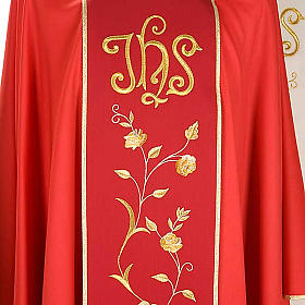 Chasuble and stole in 100% wool, IHS roses s4