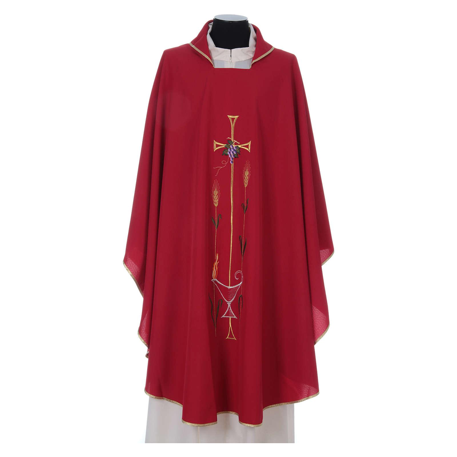 Casula liturgica croce uva lampada, con stola 4