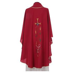Casula liturgica croce uva lampada, con stola s4