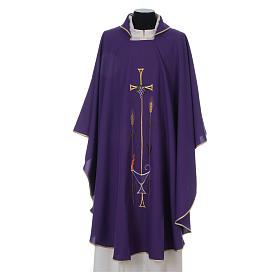 Casula liturgica croce uva lampada, con stola s1