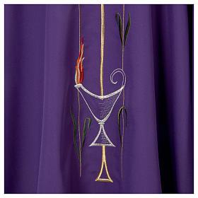 Casula liturgica croce uva lampada, con stola s6