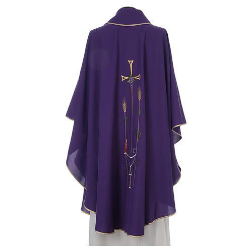 Casula liturgica croce uva lampada, con stola 2