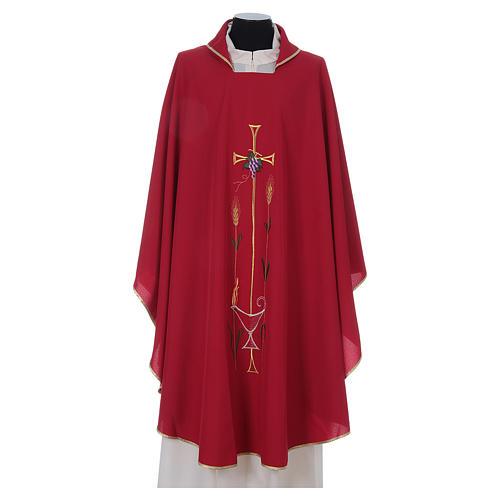 Casula liturgica croce uva lampada, con stola 3