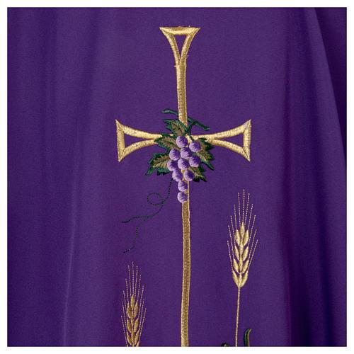 Casula liturgica croce uva lampada, con stola 5