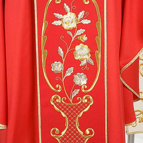 Casulla litúrgica cáliz, flores, cruz 100% lana, con estola 5