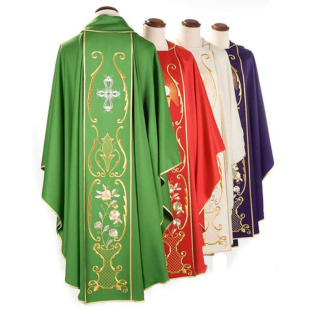 Liturgical chasuble in wool with chalice, flowers and cross 4