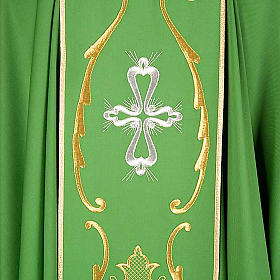 Liturgical chasuble in wool with chalice, flowers and cross s3