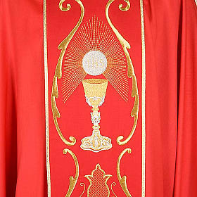 Liturgical chasuble in wool with chalice, flowers and cross s4