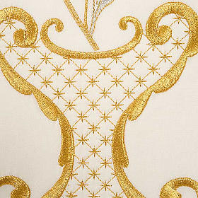 Liturgical chasuble in wool with chalice, flowers and cross s8