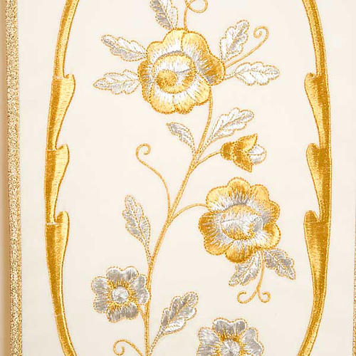 Liturgical chasuble in wool with chalice, flowers and cross 7