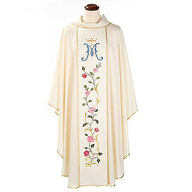 Chasubles: Marian chasuble in wool with roses and cowl