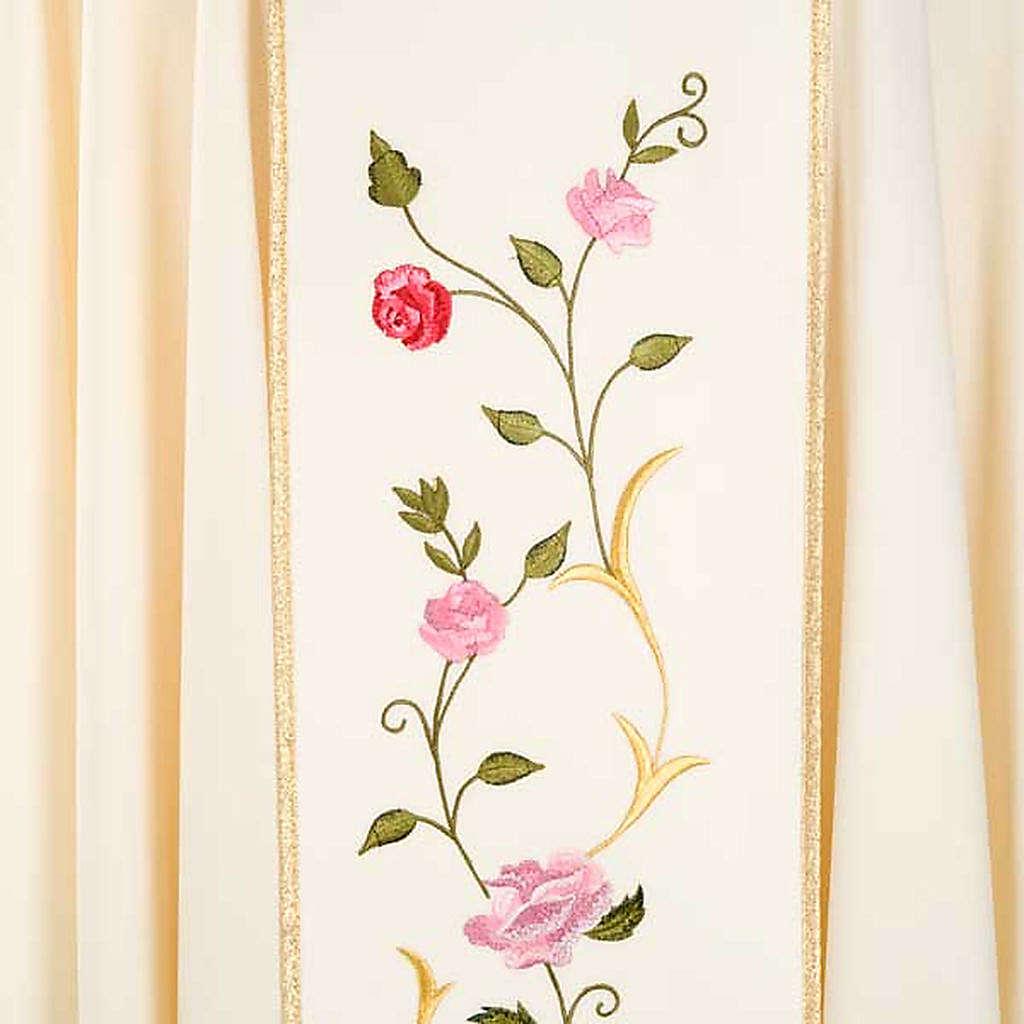Casula mariana ricamo rose colorate 100% lana con cappuccio 4