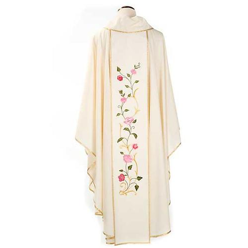 Casula mariana ricamo rose colorate 100% lana con cappuccio 2