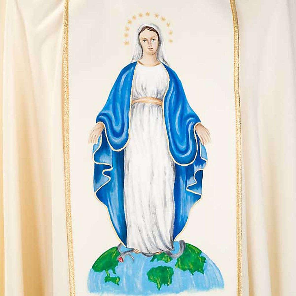 Casulla Mariana Virgen y símbolo 100% lana pintada a mano 4