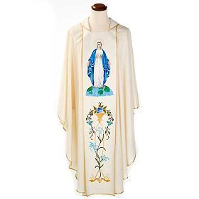Casulla Mariana Virgen y símbolo 100% lana pintada a mano s1