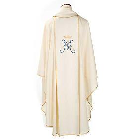 Casulla Mariana Virgen y símbolo 100% lana pintada a mano s2