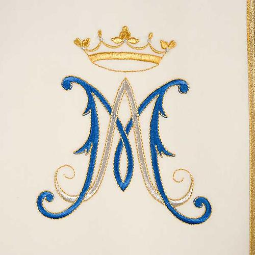 Casulla Mariana Virgen y símbolo 100% lana pintada a mano 3