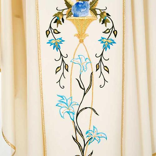 Casulla Mariana Virgen y símbolo 100% lana pintada a mano 6