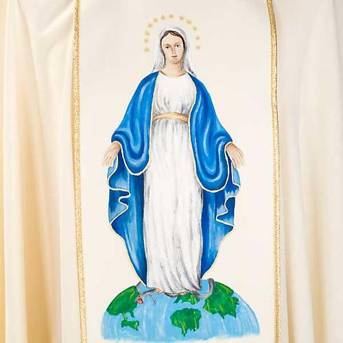 Casulla Mariana Virgen y símbolo 100% lana pintada a mano 7