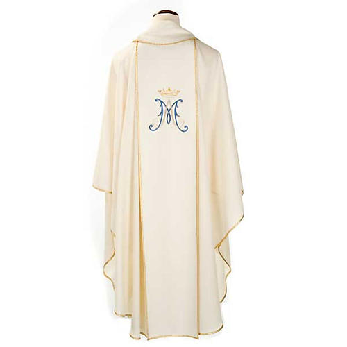 Marian chasuble in wool with Virgin Mary 2