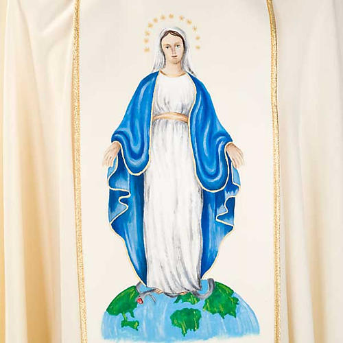 Marian chasuble in wool with Virgin Mary 7